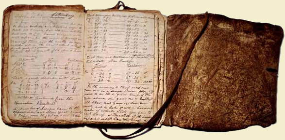 William Clark's Elkskin Bound Journal, open view, showing entry for Saturday, 26 October 1805.  Clark Family Collection. William Clark Papers. Missouri Historical Society Archives. Photograph by Allied Photocolor. Obj 109.  (c) 1982,  Missouri Historical Society.