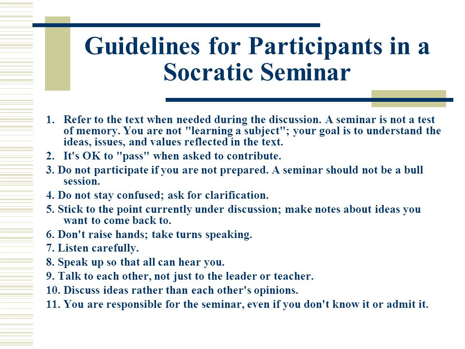 socratic seminar Purpose the purpose of a socratic seminar is to achieve a deeper understanding about the ideas and values in a text in the seminar, participants systematically.