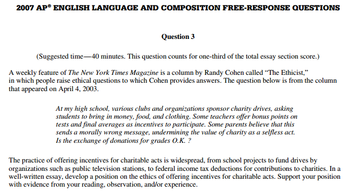 Ap english language and composition test essay
