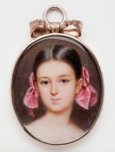 Emanuel Thomas Peter Austrian, 1799?1873 A Young Girl with Pink Hair Ribbons ca. 1860 Watercolor on mother-of-pearl in gold-plated copper alloy locket 1 7/8 in. (4.76 cm) Milwaukee Art Museum, Gift of Mrs. Albert T. Friedmann M1950.11                                                      Photo by John R. Glembin